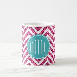 Pink Glitter and Mint Custom Monogram Basic White Mug