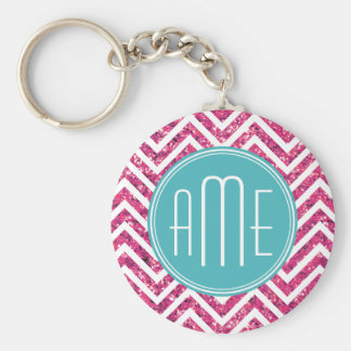 Pink Glitter and Mint Custom Monogram Basic Round Button Key Ring