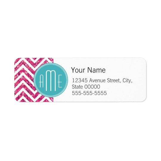 Pink Glitter and Mint Custom Monogram Return Address Label