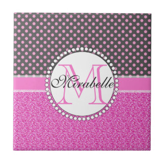 Pink Glitter and Pink Polka Dots on gray Named Ceramic Tile