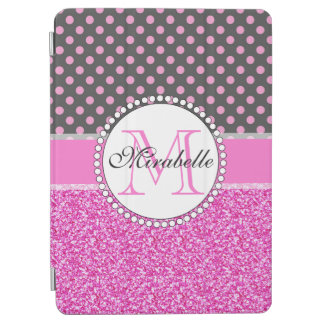 Pink Glitter and Pink Polka Dots on gray Named iPad Air Cover
