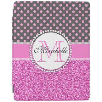 Pink Glitter and Pink Polka Dots on gray Named iPad Cover