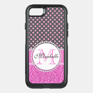 Pink Glitter and Pink Polka Dots on gray Named OtterBox Commuter iPhone 8/7 Case