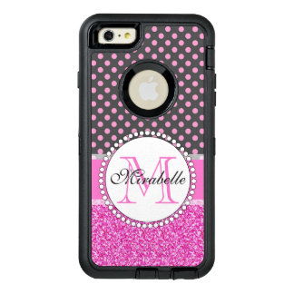 Pink Glitter and Pink Polka Dots on gray Named OtterBox Defender iPhone Case