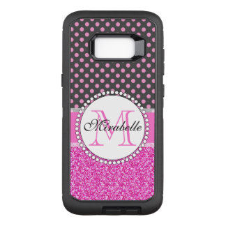 Pink Glitter and Pink Polka Dots on gray Named OtterBox Defender Samsung Galaxy S8+ Case