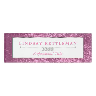 Pink Glitter and Silver Design Name Tag