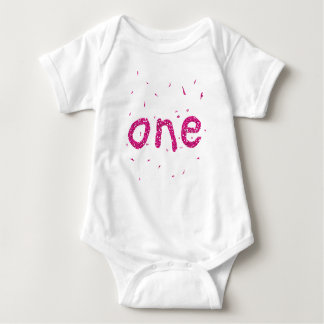 Pink Glitter Baby Girl 1st Birthday Party Bodysuit