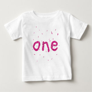 Pink Glitter Baby Girl 1st Birthday Party T-shirt
