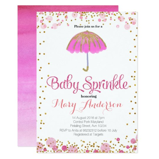 PINK GLITTER Baby Sprinkle Invitation umbrella