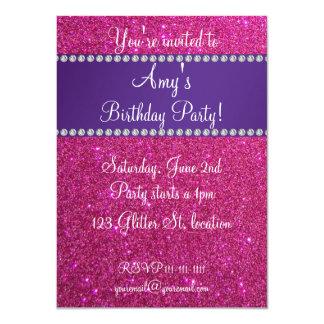 "Pink glitter birthday invitation 4.5"" x 6.25"" invitation card"
