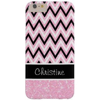 Pink Glitter Black Chevron iPhone 6 Plus Case