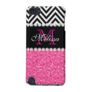 PINK GLITTER BLACK CHEVRON MONOGRAM iPod TOUCH (5TH GENERATION) COVERS