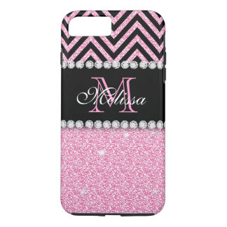 PINK GLITTER BLACK CHEVRON MONOGRAMMED iPhone 7 PLUS CASE