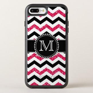 Pink Glitter, Black Chevron, Tough, Monogrammed OtterBox Symmetry iPhone 8 Plus/7 Plus Case