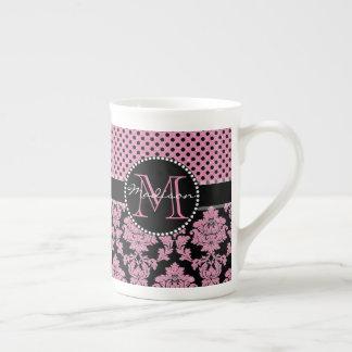 Pink glitter & black damask, Pink Black Dots Name Tea Cup