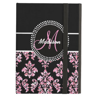 PINK GLITTER BLACK DAMASK YOUR MONOGRAM CASE FOR iPad AIR