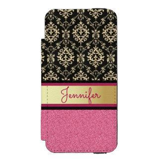 Pink Glitter, Black Gold Swirls Damask name Incipio Watson™ iPhone 5 Wallet Case