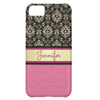 Pink Glitter, Black Gold Swirls Damask name iPhone 5C Case