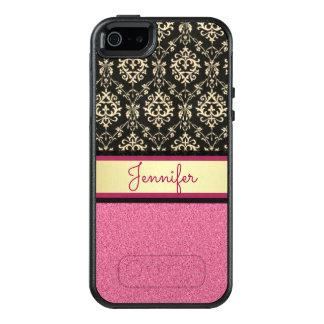 Pink Glitter, Black Gold Swirls Damask name OtterBox iPhone 5/5s/SE Case