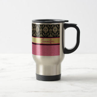 Pink Glitter, Black Gold Swirls Damask name Travel Mug