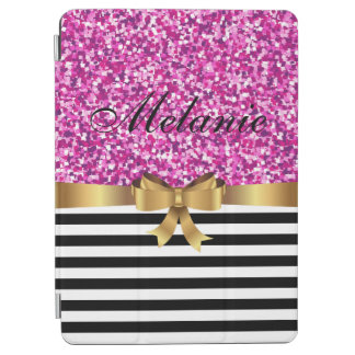 Pink GLITTER BLACK white stripe GOLD BOW MONOGRAM iPad Air Cover