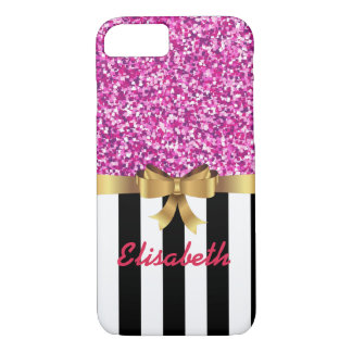PINK GLITTER BLACk white vertical goldBOW MONOGRAM iPhone 8/7 Case