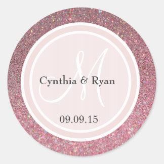 Pink Glitter & Blush Pink Wedding Monogram Classic Round Sticker