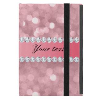 Pink Glitter Bokeh and Diamonds Personalized iPad Mini Case