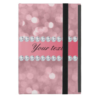 Pink Glitter Bokeh and Diamonds Personalized iPad Mini Cover