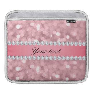 Pink Glitter Bokeh and Diamonds Personalized iPad Sleeve