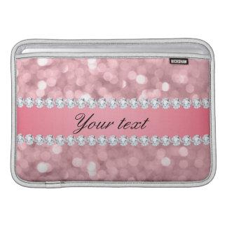Pink Glitter Bokeh and Diamonds Personalized MacBook Sleeve