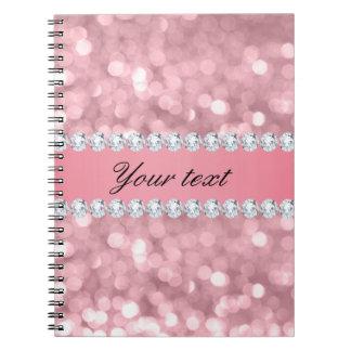 Pink Glitter Bokeh and Diamonds Personalized Notebooks