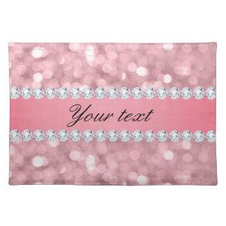 Pink Glitter Bokeh and Diamonds Personalized Placemat