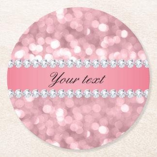 Pink Glitter Bokeh and Diamonds Personalized Round Paper Coaster