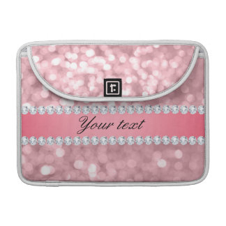 Pink Glitter Bokeh and Diamonds Personalized Sleeve For MacBook Pro