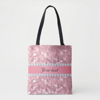 Pink Glitter Bokeh and Diamonds Personalized Tote Bag