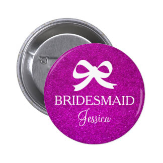 Pink glitter bridesmaid button for wedding party