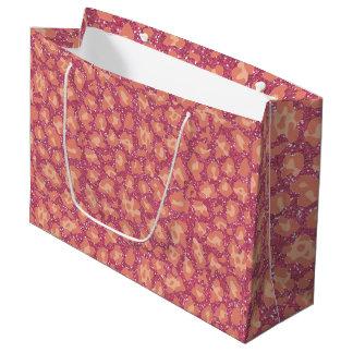 Pink Glitter Cheetah Print Large Gift Bag