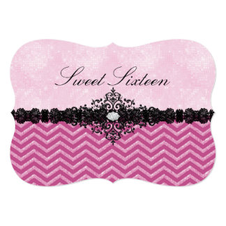 Pink Glitter Chevron & Damask Sweet16 Invitation
