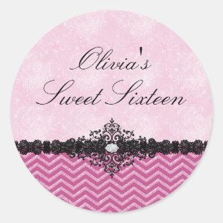 Pink Glitter Chevron & Damask Sweet 16 Sticker