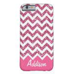 Pink Glitter Chevron Name BLING Case iPhone 6 Case