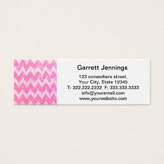 Pink Glitter Chevron Pattern Mini Business Card