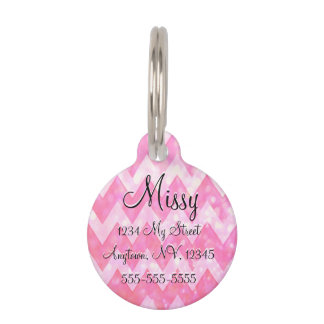 Pink Glitter Chevron Pattern Pet ID Tag