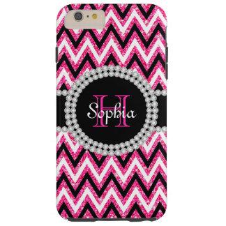 Pink Glitter Chevrons Tough iPhone 6 Plus Case