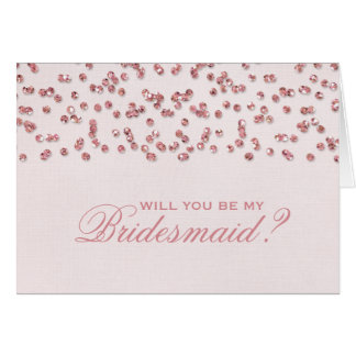 Pink Glitter Confetti Will You Be My Bridesmaid? Note Card