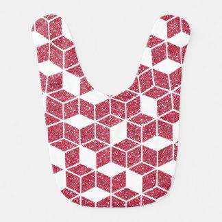 Pink Glitter Cube Pattern Baby Bib