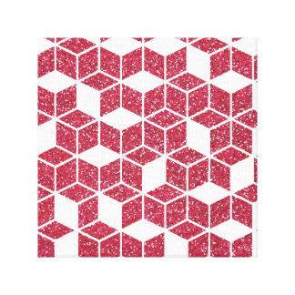 Pink Glitter Cube Pattern Canvas Print