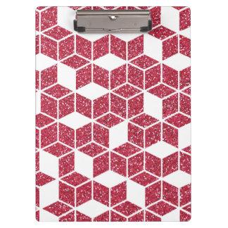 Pink Glitter Cube Pattern Clipboard