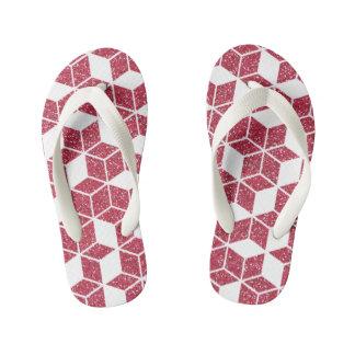Pink Glitter Cube Pattern Kids Flip-Flop Thongs