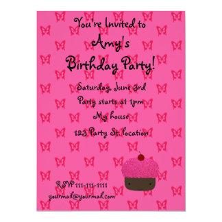 Pink glitter cupcake pink butterflies 17 cm x 22 cm invitation card